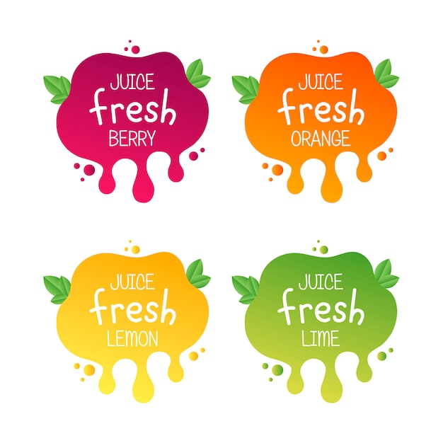 Ikona Etykiety świeżych Owoców Sok Dla Twoich Potrzeb Premium Wektorów