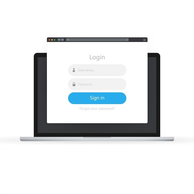Ikona Formularza Logowania. Strona Formularza Logowania Na Laptopie. Premium Wektorów