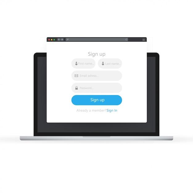 Ikona Formularza Logowania. Zaloguj Się Na Stronie Formularza Na Laptopie. Premium Wektorów