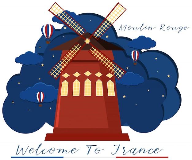 Ikona Francuskiego Moulin Rouge Premium Wektorów