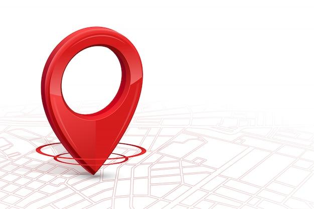 Ikona gps.gps 3d czerwony kolor spadający na mapę ulicy w białym tle Premium Wektorów
