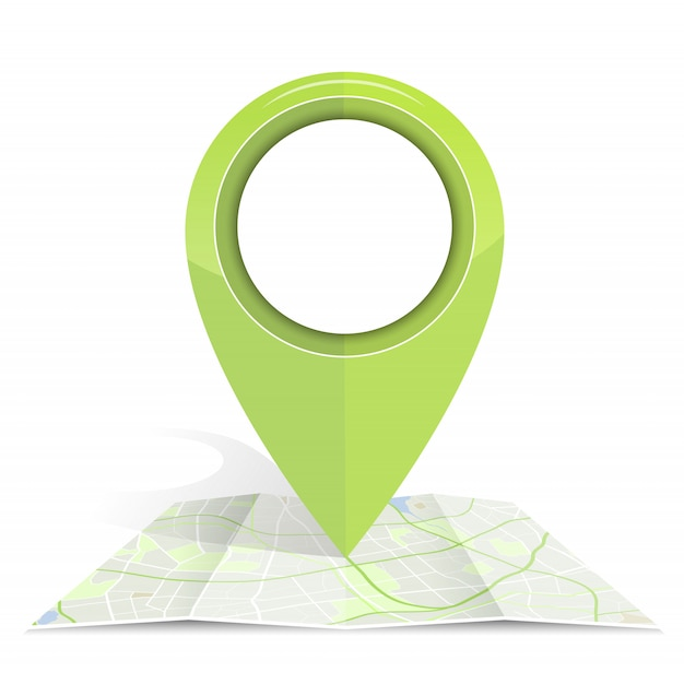 Ikona Gps Tworzy Zielony Kolor Na Papierze Map Premium Wektorów