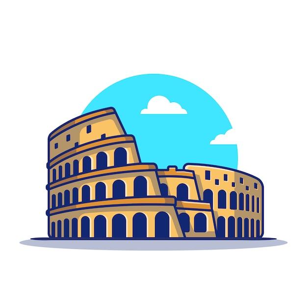Ikona Ilustracja Kreskówka Koloseum. Słynny Budynek Podróży Ikona Koncepcja Na Białym Tle. Płaski Styl Kreskówki Premium Wektorów