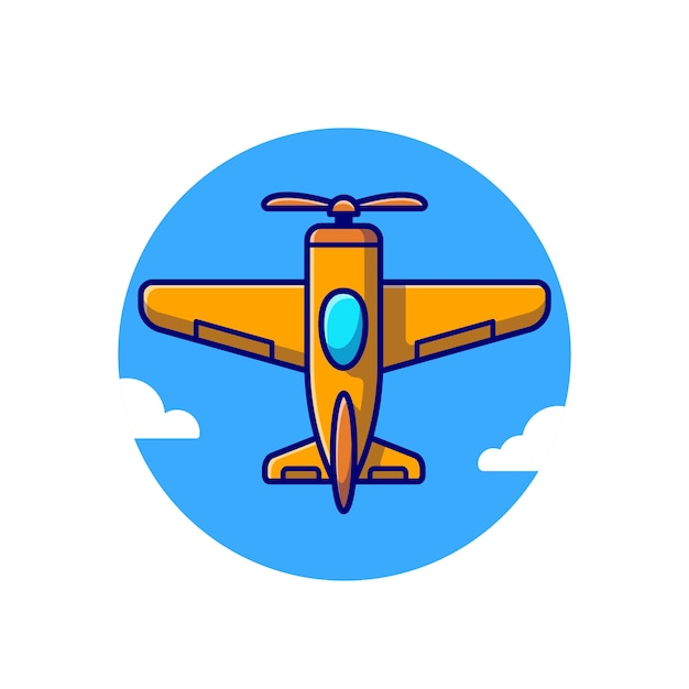 Ikona Ilustracja Kreskówka Vintage Samolot. Koncepcja Ikona Transportu Lotniczego Premium Wektorów