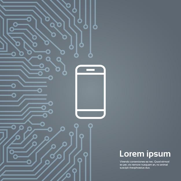 Ikona inteligentny telefon komórkowy na komputer chip moterboard banner tła Premium Wektorów