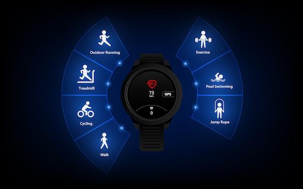 Ikona Interfejsu Użytkownika Monitora Fitness, Tło, Krokomierz Sportowy, Szablon Inteligentnego Zegarka Premium Wektorów