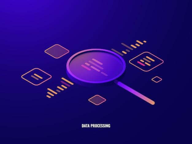 Ikona izometryczna przetwarzania danych, analizy biznesowe i statystyki, szkło powiększające Darmowych Wektorów