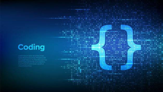 Ikona Kodu Programowania Wykonana Za Pomocą Kodu Binarnego. Tło Macierzy Kodowania Lub Hakera Z Cyframi 1.0. Premium Wektorów