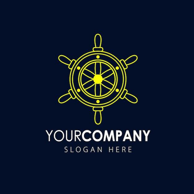 Ikona koła kierownicy statku, logo morskie Premium Wektorów