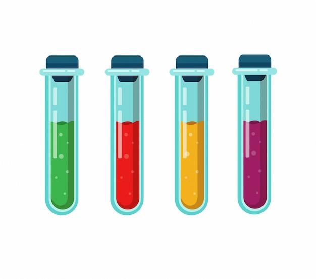 Ikona Kolekcji Probówki. Koncepcja Sprzętu Laboratoryjnego Do Testowania Chorób Lub Klinicznych Badań Medycznych. Kreskówka Płaski Ilustracja Na Białym Tle Premium Wektorów
