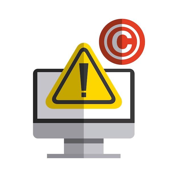 Ikona komputera i c. projekt praw autorskich. grafika wektorowa Premium Wektorów