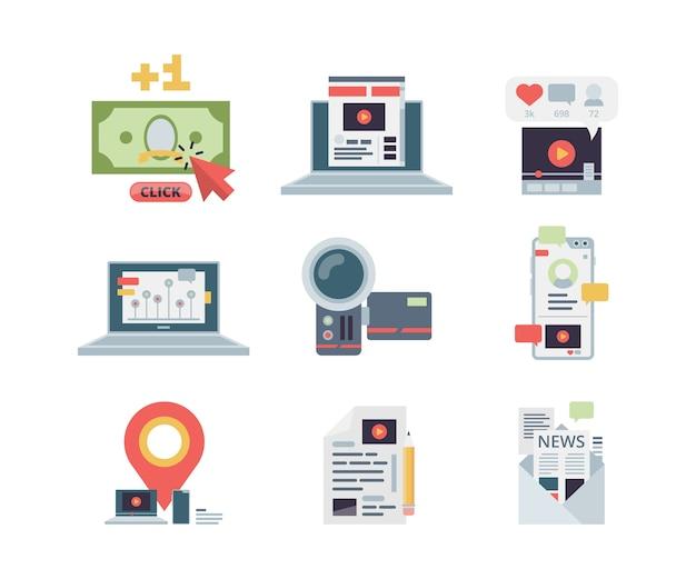 Ikona Koncepcja Blogowania. Zarządzanie Treścią Marketingową, Pisanie Aplikacji W Miejscu Pracy, Symbole Stowarzyszonych Sieci Społecznościowych Wektorowe Płaskie Obrazy. Blogowanie Treści Multimedialnych, Artykułów I Ilustracji Vlogów Premium Wektorów