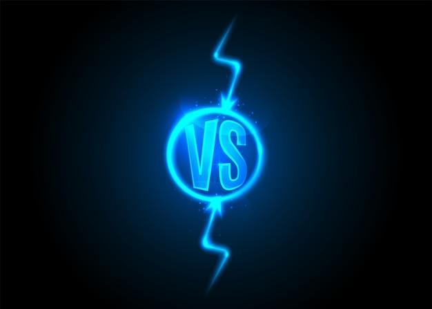 Ikona Kontra. Litery Vs Są W Okrągłym Kółku. Błyskawica. Grzmot Kreskówka Niebieski Neon. Darmowych Wektorów