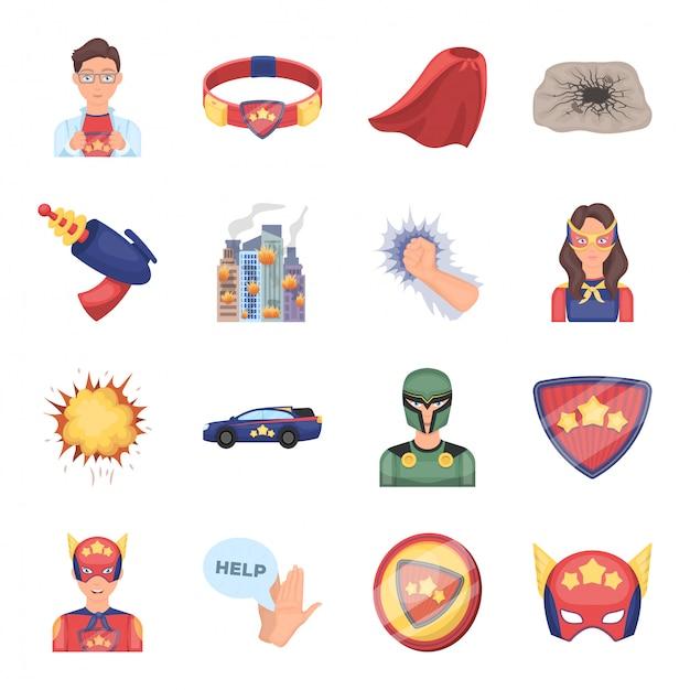 Ikona Kreskówka Superbohatera. Komiks Kreskówka Na Białym Tle Zestaw Ikon Superbohatera. Premium Wektorów