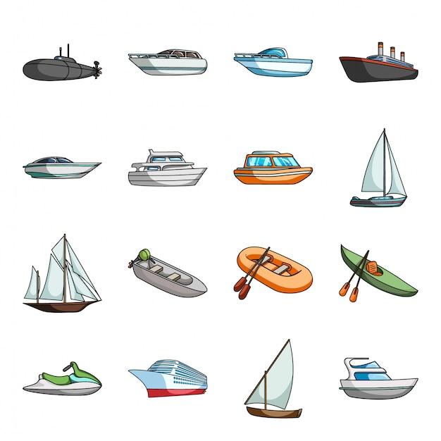 Ikona Kreskówka Transportu Wody. Ilustracja Statek Morski. Zestaw Kreskówka Na Białym Tle Ikona Transportu Wody. Premium Wektorów