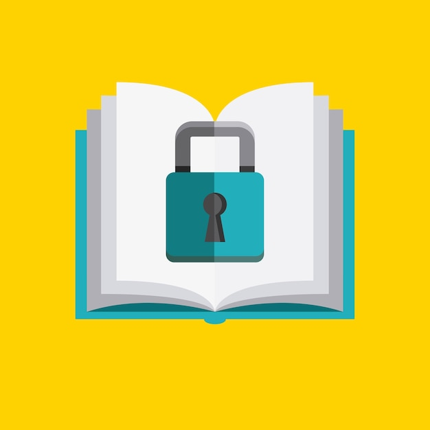 Ikona książki i kłódki. projekt praw autorskich. grafika wektorowa Premium Wektorów