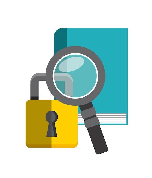 Ikona książki, lupe i kłódki. projekt praw autorskich. grafika wektorowa Premium Wektorów