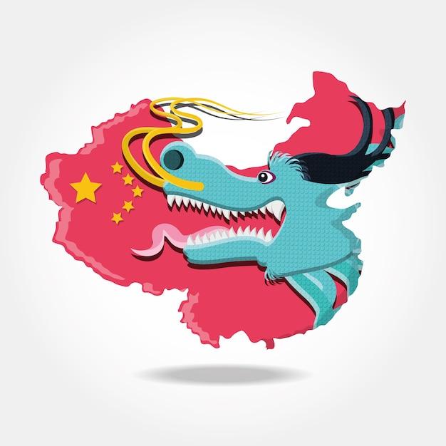 Ikona kultury chińskiej smoka Premium Wektorów