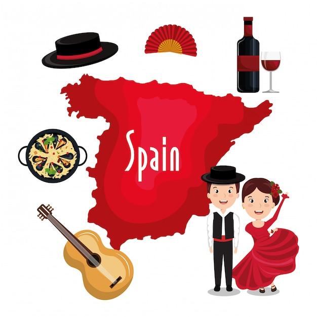 Ikona kultury hiszpańskiej na białym tle projekt ikony Premium Wektorów