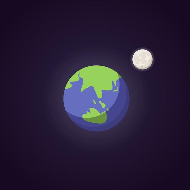 Ikona ładna Niebieskiej Planety Ziemi. Przestrzeń Ilustracja Kreskówka. Premium Wektorów