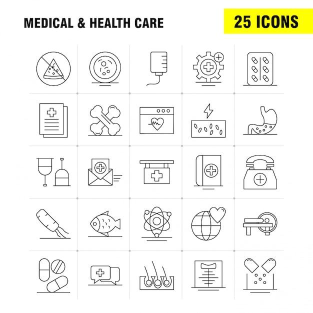 Ikona linii medycznej i opieki zdrowotnej dla zestawu internetowego, drukowanego i mobilnego ux / ui. Premium Wektorów