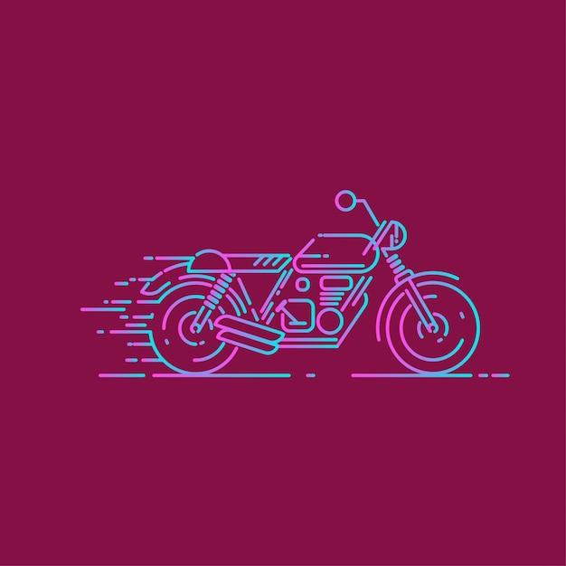 Ikona Linii Motocykl Z Efektem Dash Premium Wektorów