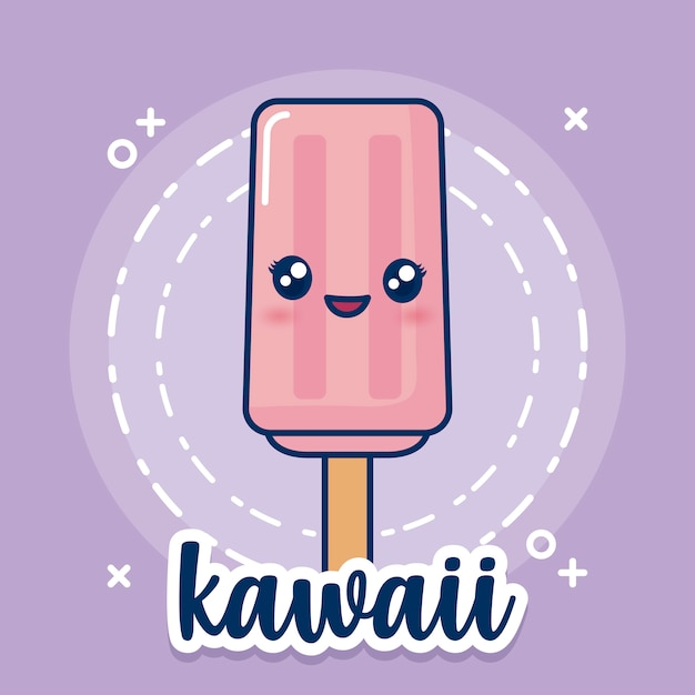 Ikona lody kawaii Darmowych Wektorów