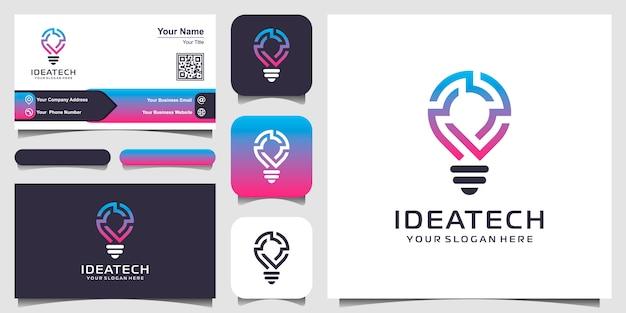 Ikona Logo Inteligentne żarówki Tech I Projekt Wizytówki. Idea Strategii Projektowanie Logo. Logo Pomysł Kreatywnej żarówki. Technologia Cyfrowego Logo żarówki Idea Premium Wektorów