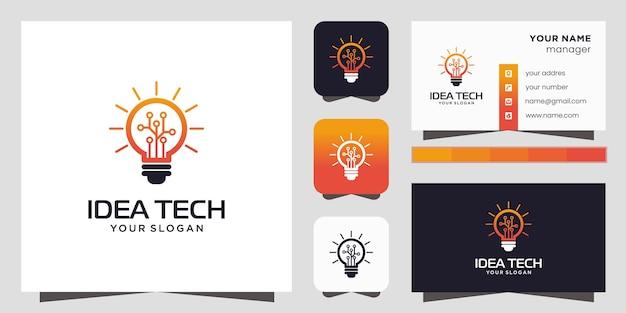 Ikona Logo Inteligentne żarówki Tech I Wizytówki Premium Wektorów