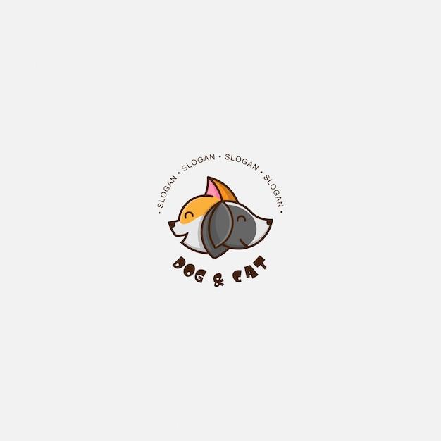 Ikona logo kota i psa Premium Wektorów