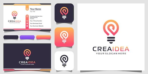 Ikona Logo Kreatywnych żarówek I Projekt Wizytówki Premium Wektorów