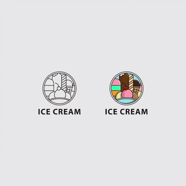 Ikona logo lodów w kole Premium Wektorów