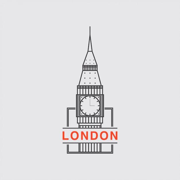 Ikona logo miasta londynu Premium Wektorów