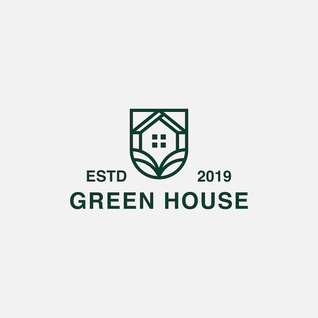 Ikona logo minimalistyczny zielony dom Premium Wektorów