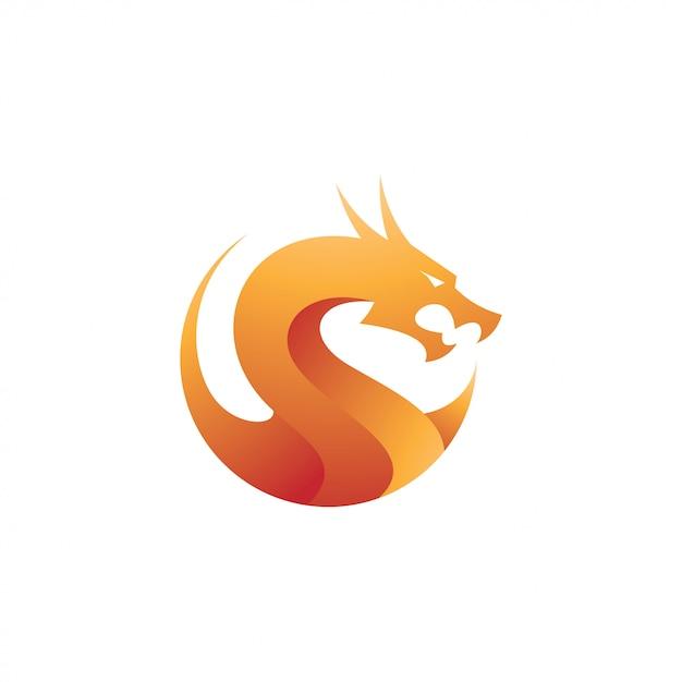 Ikona logo nowoczesny smok gradientu Premium Wektorów