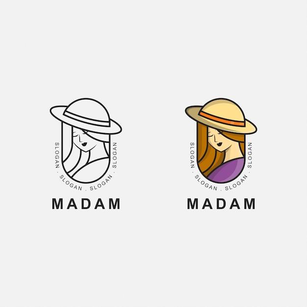 Ikona logo premium dojrzałej kobiety Premium Wektorów