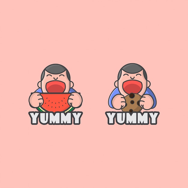 Ikona logo prosta ilustracja grubego dziecka będąc arbuzem i ciasteczkiem Premium Wektorów