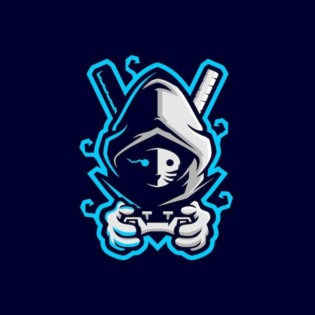 Ikona Logo Sportowego Joysticka Do Gier Ninja Premium Wektorów