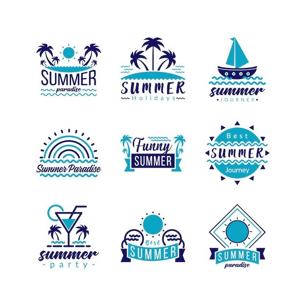 Ikona logo typografii ustaw podróży retro i tropikalnej przygody raju. Premium Wektorów
