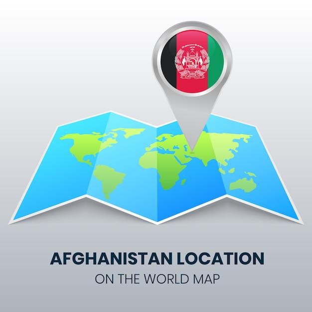 Ikona Lokalizacji Afganistanu Na Mapie świata, Ikona Okrągłej Pinezki Afganistanu Premium Wektorów