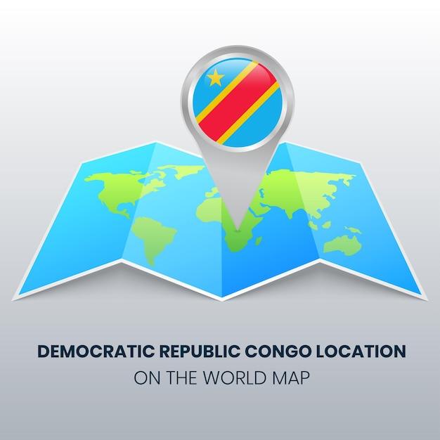 Ikona Lokalizacji Demokratycznej Republiki Konga Na Mapie świata, Okrągła Ikona Pinezki Demokratycznej Republiki Konga Premium Wektorów