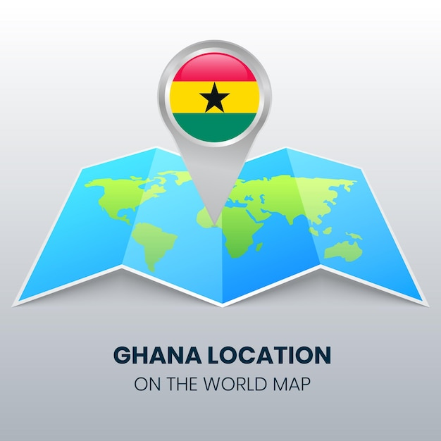 Ikona Lokalizacji Ghany Na Mapie świata Premium Wektorów