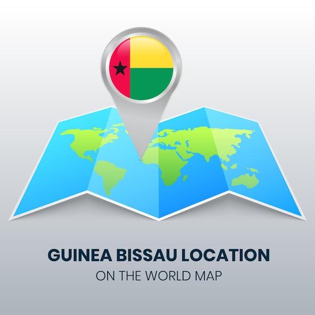Ikona Lokalizacji Gwinei Bissau Na Mapie świata Premium Wektorów