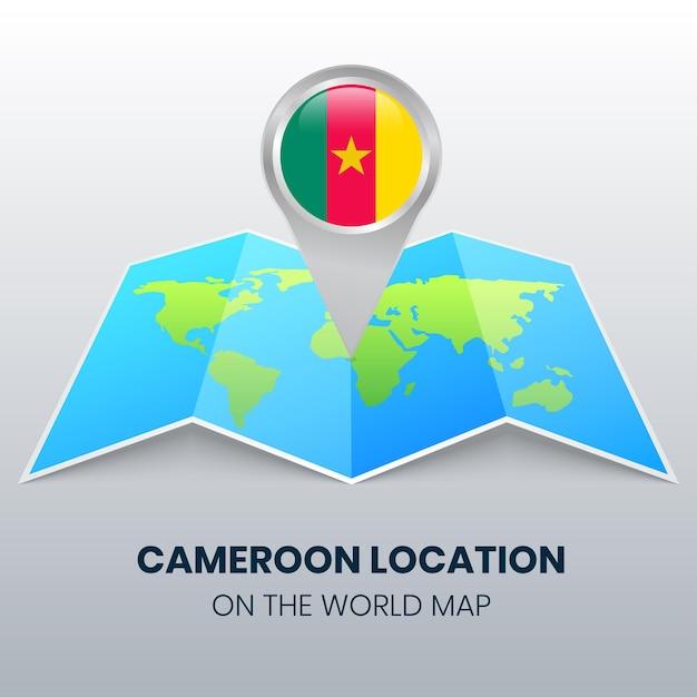 Ikona Lokalizacji Kamerunu Na Mapie świata, Ikona Okrągłej Pinezki Kamerunu Premium Wektorów