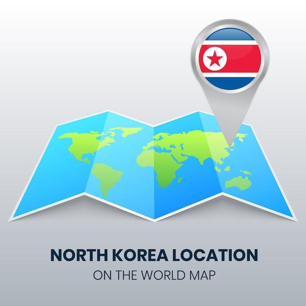 Ikona Lokalizacji Korei Północnej Na Mapie świata, Ikona Okrągłej Pinezki Korei Północnej Premium Wektorów