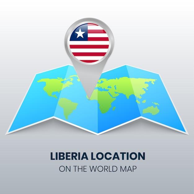 Ikona Lokalizacji Liberii Na Mapie świata Okrągła Ikona Pinezki Liberii Premium Wektorów