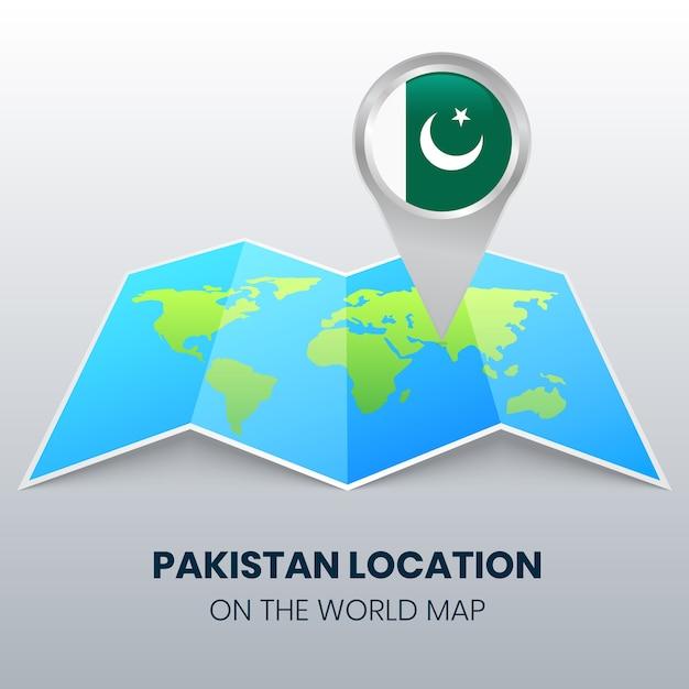 Ikona Lokalizacji Pakistanu Na Mapie świata, Ikona Okrągłej Pinezki Pakistanu Premium Wektorów