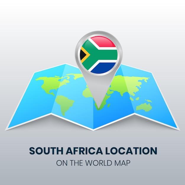 Ikona Lokalizacji Republiki Południowej Afryki Na Mapie świata Premium Wektorów