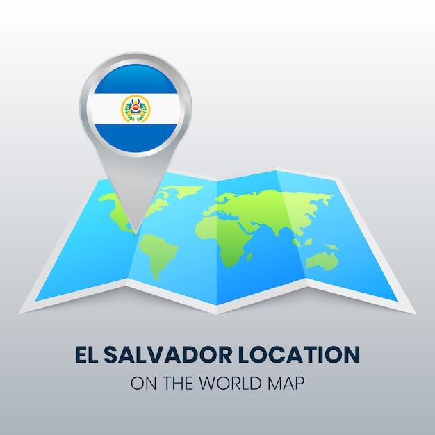 Ikona Lokalizacji Salwadoru Na Mapie świata Premium Wektorów