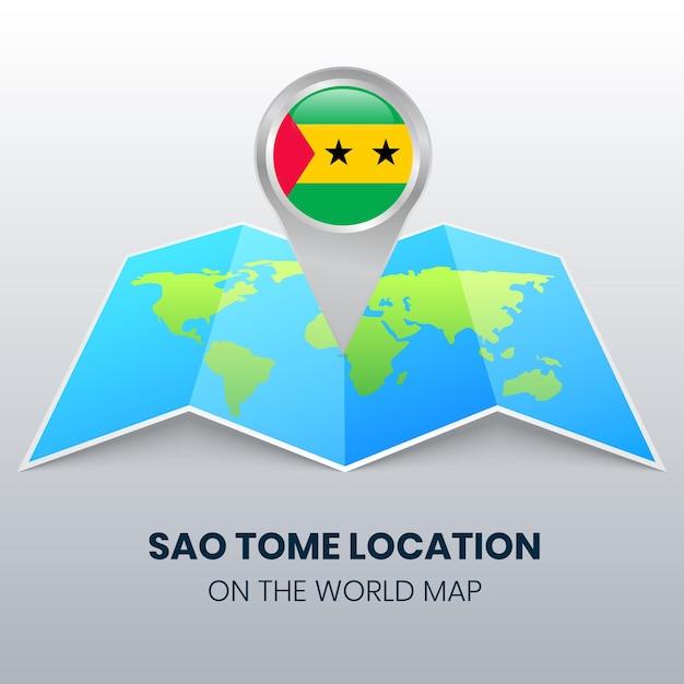 Ikona Lokalizacji Sao Tome Na Mapie świata Premium Wektorów